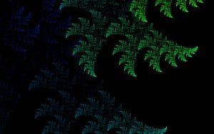 Превью обои фрактал, узор, абстракция, зеленый, темный