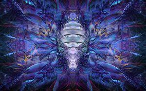 Превью обои фрактал, узор, абстракция, синий, фиолетовый