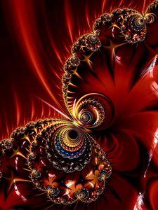 Превью обои фрактал, узор, блики, абстракция, красный