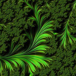 Превью обои фрактал, узор, фигуры, зеленый, абстракция