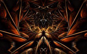 Превью обои фрактал, узор, линии, абстракция, коричневый