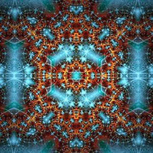 Превью обои фрактал, узор, свечение, абстракция, синий, коричневый