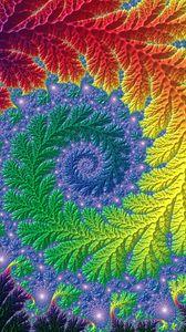 Превью обои фрактал, узоры, спириаль, разноцветный, закрученный