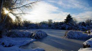 Превью обои франция, озеро, лед, мороз, иней, зима, небо, утро, свет