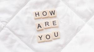 Превью обои фраза, вопрос, слова, кубики, ткань