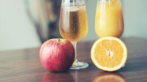 Превью обои фреш, сок, фрукты, яблоко, апельсин