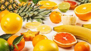 Превью обои фрукты, апельсин, банан, лимон, ананас