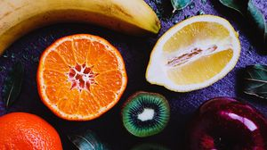 Превью обои фрукты, лимон, апельсин, киви, банан, яблко