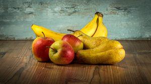 Превью обои фрукты, яблоки, бананы, груши