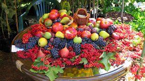 Превью обои фрукты, ягоды, стол, много