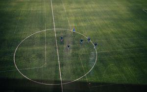 Превью обои футбол, футбольное поле, футболисты, тренировка, спорт