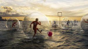 Превью обои футбол, вода, шар, мяч, небо, люди