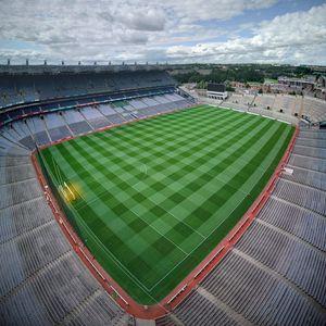 Превью обои футбольное поле, поле, футбол, вид сверху