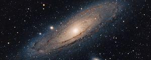 Превью обои галактика андромеды, звезды, сияние, космос