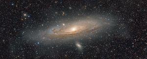 Превью обои галактика андромеды, звезды, свечение, космос