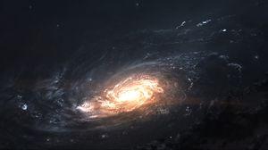 Превью обои галактика, свечение, спираль, космос, вселенная