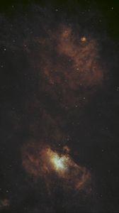 Превью обои галактика, туманность, свечение, космос, звезды, темный
