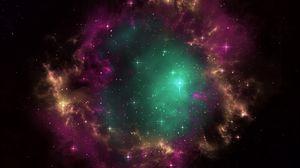 Превью обои галактика, вселенная, звезды, портал, туманность, скопление, открытый космос
