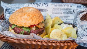 Превью обои гамбургер, бургер, мясо, аппетитно