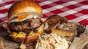 Превью обои гамбургер, бургер, мясо, овощи