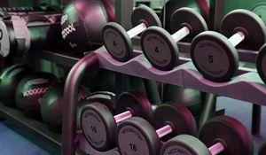 Превью обои гантели, спортзал, фитнес, спорт