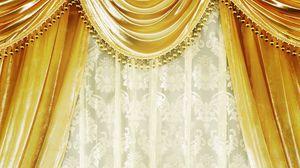 Превью обои гардины, золото, бархат, шторы, дамаск