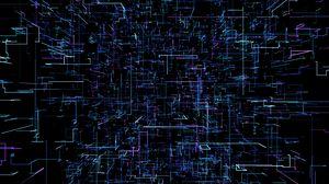 Превью обои геометрия, линии, неон, элементы