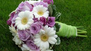 Превью обои герберы, розы, букет, оформление