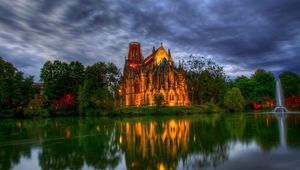 Превью обои германия, парк, собор, фонтан, костел, пруд, деревья