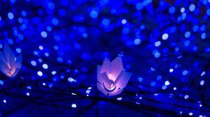 Превью обои гирлянды, блики, боке, свет, рождество, новый год