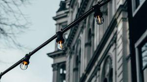 Превью обои гирлянды, лампочки, здание, архитектура, украшение