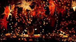 Превью обои гирлянды, украшение, рождество, декорирование, посуда