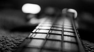 Превью обои гитара, гриф, струны, музыка, черно-белый