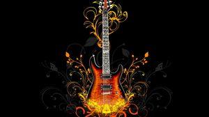 Превью обои гитара, огонь, свет