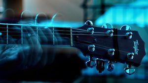 Превью обои гитара, струны, гриф, движение