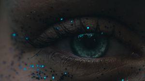 Превью обои глаз, блестки, ресницы, зрачок