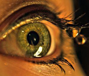 Превью обои глаз, капли, макро, ресницы