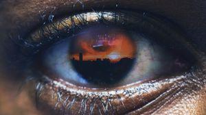 Превью обои глаз, отражение, фотошоп, ресницы, зрачок