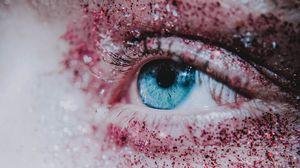 Превью обои глаз, ресницы, блестки, зрачок