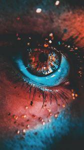 Превью обои глаз, ресницы, краска, блестки