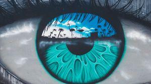 Превью обои глаз, зрачок, фигуры, граффити, стрит-арт