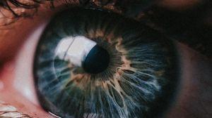 Превью обои глаз, зрачок, крупный план, блик, ресницы, веки