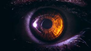 Превью обои глаз, зрачок, крупным планом, карий, ресницы
