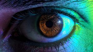 Превью обои глаз, зрачок, ресницы, макро, разноцветный