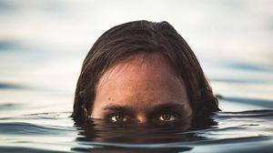 Превью обои глаза, под водой, лицо, наблюдать