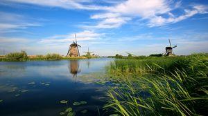 Превью обои голландия, мельницы, река, растительность, камыши