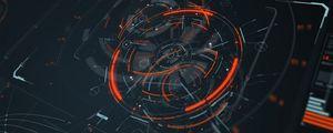 Превью обои голограмма, схема, sci-fi, цифровой, круги, линии, элементы