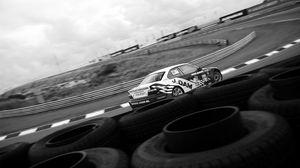 Превью обои гонки, ралли, гоночная машина, трасса, шины
