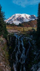 Превью обои гора, деревья, снег, природа, пейзаж