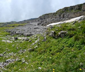 Превью обои гора, камни, облака, природа, пейзаж